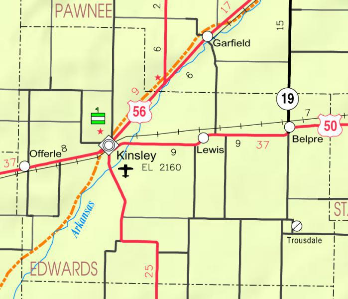 Map of Edwards Co, Ks, U S A