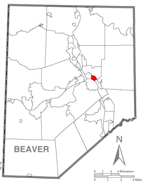 Map of East Rochester, Beaver County, Pennsylvania Highlighted