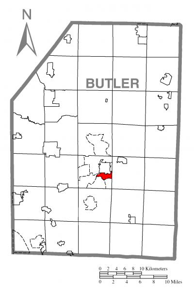 Map of Meadowood, Butler County, Pennsylvania Highlighted