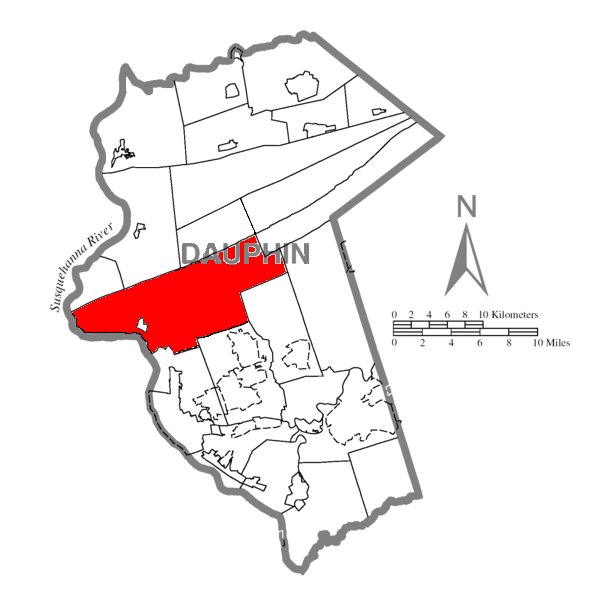 Map of Dauphin County, Pennsylvania Highlighting Middle Paxton Township