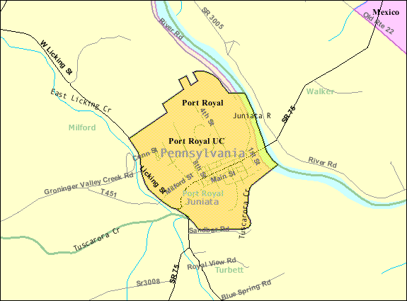 Detailed map of Port Royal, Pennsylvania