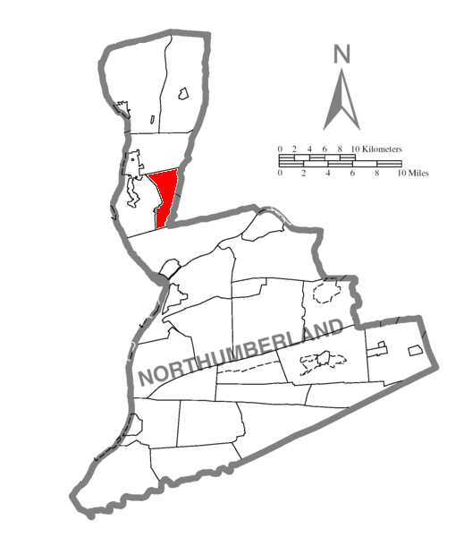 Map of Northumberland County Pennsylvania Highlighting East Chillisquaque Township
