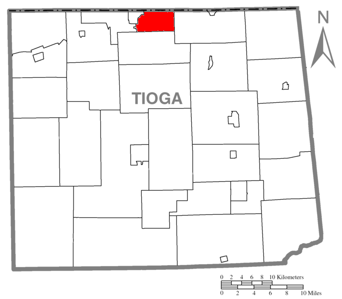 Map of Tioga County Pennsylvania Highlighting Nelson Township